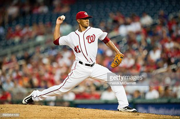 Starting pitcher Joe Ross of the Washington Nationals throws a pitch to a New York Mets batter during a MLB baseball game at Nationals Park on June...
