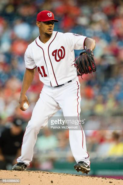 Starting pitcher Joe Ross of the Washington Nationals throws a pitch to a Baltimore Orioles batter in the second inning during a game at Nationals...