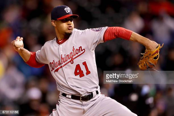 Starting pitcher Joe Ross of the Washington Nationals throws in the third inning against the Colorado Rockies at Coors Field on April 25 2017 in...