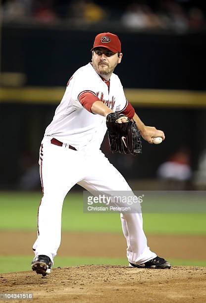 Starting pitcher Joe Saunders of the Arizona Diamondbacks pitches against the Colorado Rockies during the Major League Baseball game at Chase Field...