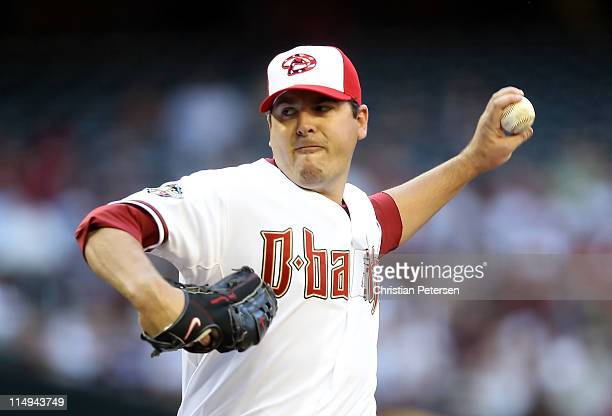 Starting pitcher Joe Saunders of the Arizona Diamondbacks pitches against the Florida Marlins during the Major League Baseball game at Chase Field on...