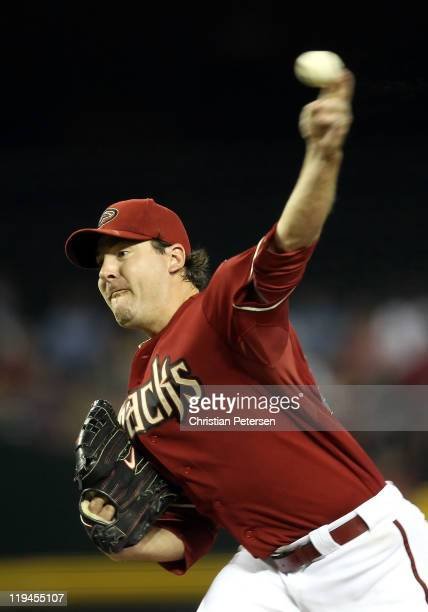 Starting pitcher Joe Saunders of the Arizona Diamondbacks pitches against the Milwaukee Brewers during the Major League Baseball game at Chase Field...