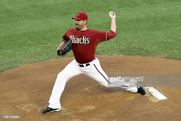 Starting pitcher Joe Saunders of the Arizona Diamondbacks pitches against the Los Angeles Dodgers during the MLB game at Chase Field on May 23 2012...