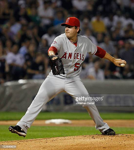 Starting pitcher Joe Saunders of the Los Angeles Angels of Anaheim delivers the ball against the Chicago White Sox at US Cellular Field on July 7...