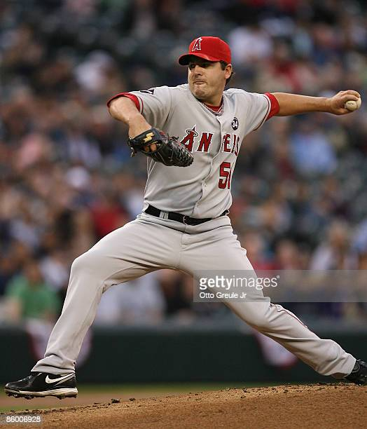 Starting pitcher Joe Saunders of the Los Angeles Angels of Anaheim pitches against the Seattle Mariners on April 16 2009 at Safeco Field in Seattle...