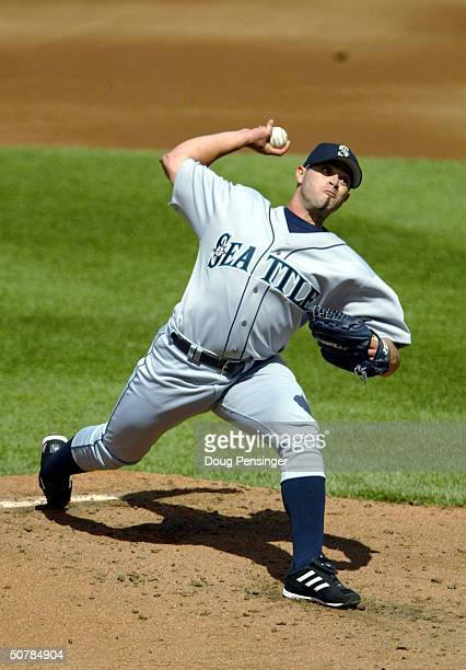 Starting pitcher Joel Pineiro of the Seattle Mariners pitches against the Baltimore Orioles as the Orioles defeated the Mariners 9-5 and Pineiro...