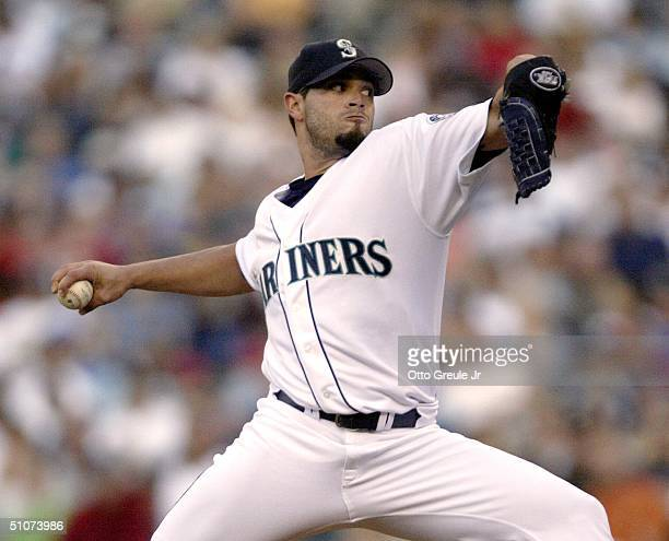 Starting Pitcher Joel Pineiro of the Seattle Mariners pitches against the Cleveland Indians on July 15, 2004 at Safeco Field in Seattle, Washington.