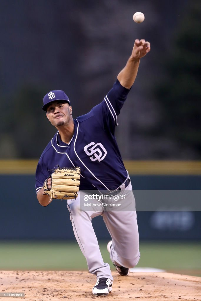 Starting pitcher Joey Lucchesi #37 of the San Diego Padres throws in the first inning against the Colorado Rockies at Coors Field on April 10, 2018 in Denver, Colorado.