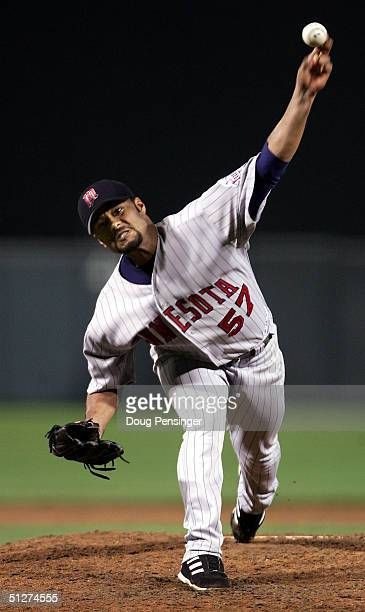 Starting pitcher Johan Santana of the Minnesota Twins delivers a pitch against the Baltimore Orioles during MLB action at Oriole Park at Camden Yards...