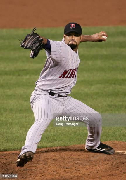 Starting pitcher Johan Santana of the Minnesota Twins delivers a pitch against the Baltimore Orioles at Oriole Park at Camden Yards on September 8...