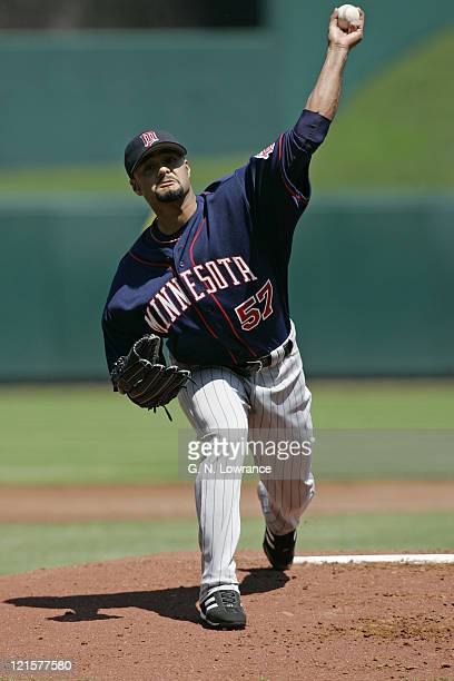 Starting pitcher Johan Santana of the Minnesota Twins in action against the Kansas City Royals at Kauffman Stadium in Kansas City Missouri on April...