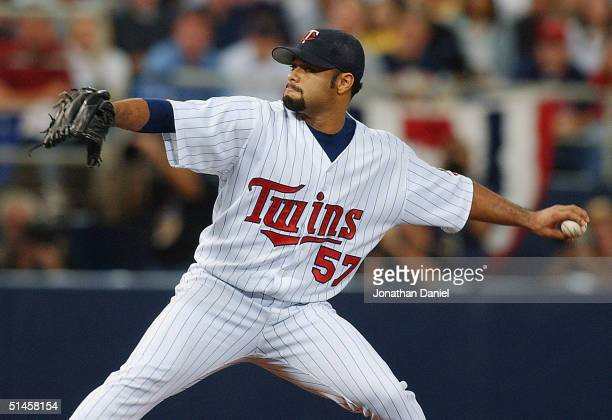 Starting pitcher Johan Santana of the Minnesota Twins pitches in the first inning against the New York Yankees during game four of the American...