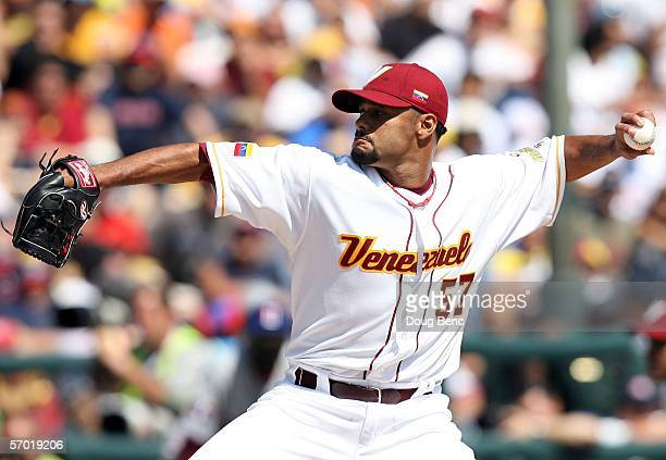 Starting pitcher Johan Santana of Venezuela pitches against the Dominican Republic during the first round of the World Baseball Classic at The...