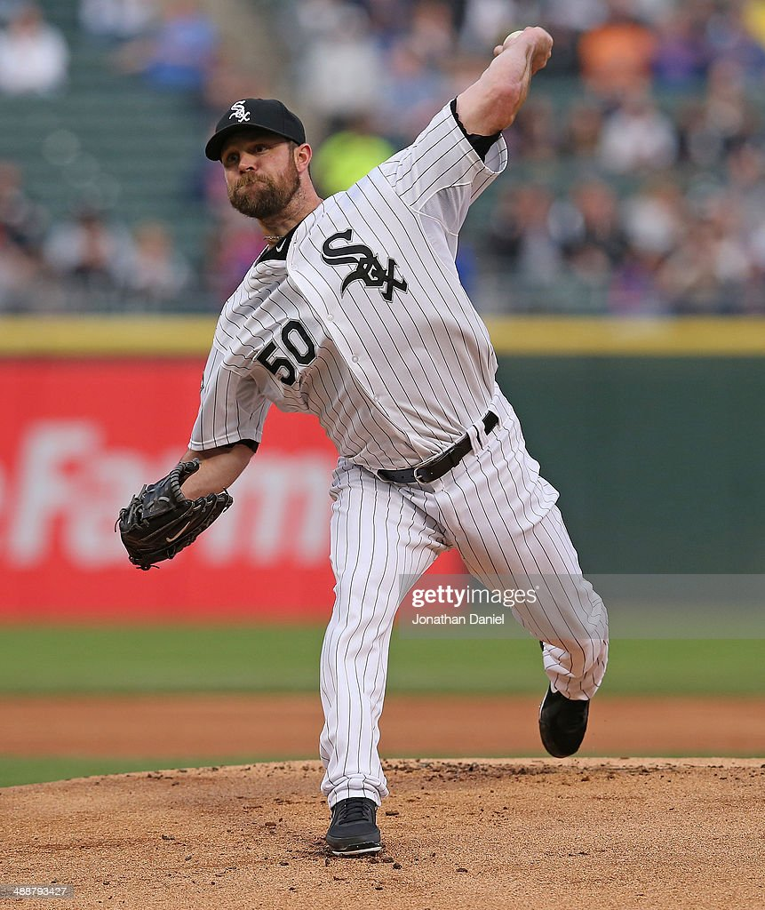 Starting pitcher John Danks #50 of the Chicago White Sox delivers the ball against the Chicago Cubs at U.S. Cellular Field on May 7, 2014 in Chicago, Illinois.