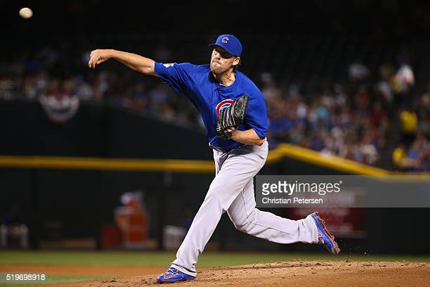 Starting pitcher John Lackey of the Chicago Cubs pitches against the Arizona Diamondbacks during the first inning of the MLB game at Chase Field on...