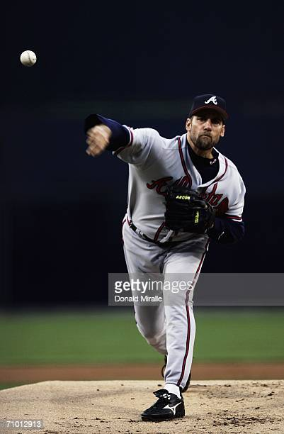 Starting Pitcher John Smoltz of the Atlanta Braves pitches against the San Diego Padres during the first inning at Petco Park May 22 2006 in San...