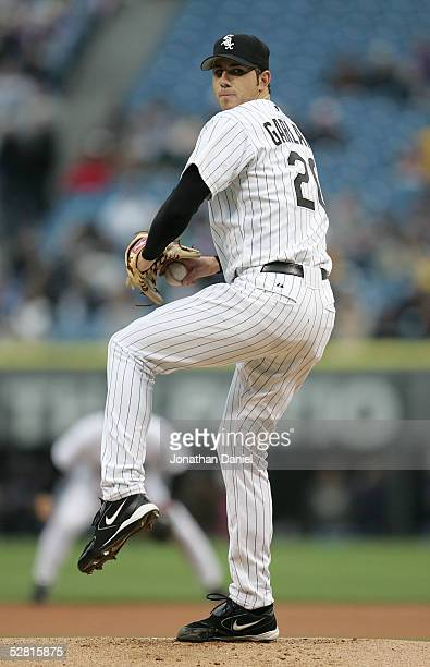 Starting pitcher Jon Garland of the Chicago White Sox prepares to deliver the ball against the Baltimore Orioles on May 12, 2005 at U.S. Cellular...