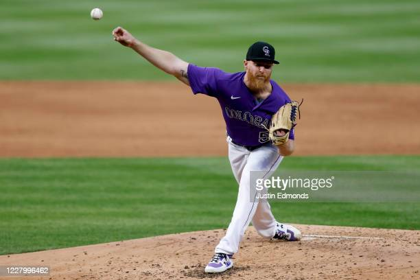 Starting pitcher Jon Gray of the Colorado Rockies delivers to home plate during the third inning against the Arizona Diamondbacks at Coors Field on...