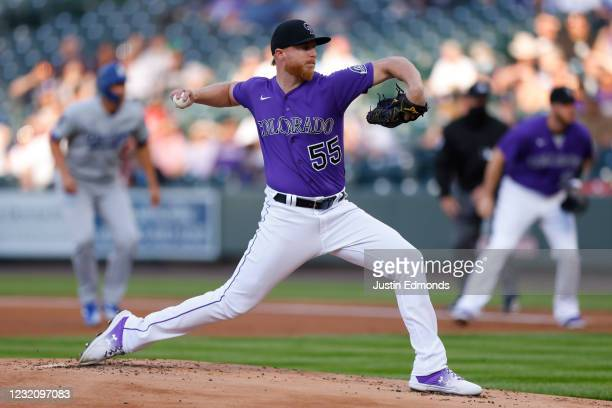 Starting pitcher Jon Gray of the Colorado Rockies delivers to home plate during the first inning of the MLB game against the Los Angeles Dodgers at...