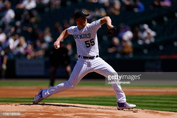 Starting pitcher Jon Gray of the Colorado Rockies delivers to home plate during the first inning against the Arizona Diamondbacks at Coors Field on...