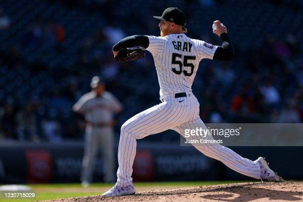 Starting pitcher Jon Gray of the Colorado Rockies delivers to home plate during the sixth inning against the San Francisco Giants at Coors Field on...