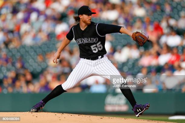 Starting pitcher Jon Gray of the Colorado Rockies delivers to home plate during the first inning against the Cincinnati Reds at Coors Field on July 5...