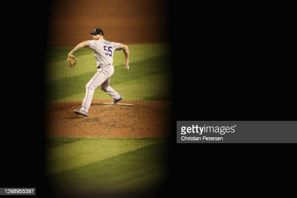 Starting pitcher Jon Gray of the Colorado Rockies pitches against the Arizona Diamondbacks during the fifth inning of the MLB game at Chase Field on...