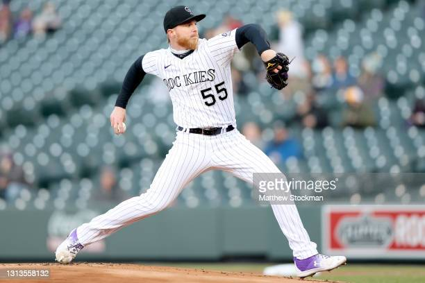Starting pitcher Jon Gray of the Colorado Rockies throws against the Houston Astros in the first inning at Coors Field on April 20, 2021 in Denver,...