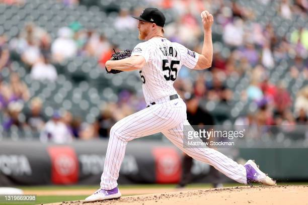 Starting pitcher Jon Gray of the Colorado Rockies throws against the Arizona Diamondbacks in the second inning at Coors Field on May 23, 2021 in...