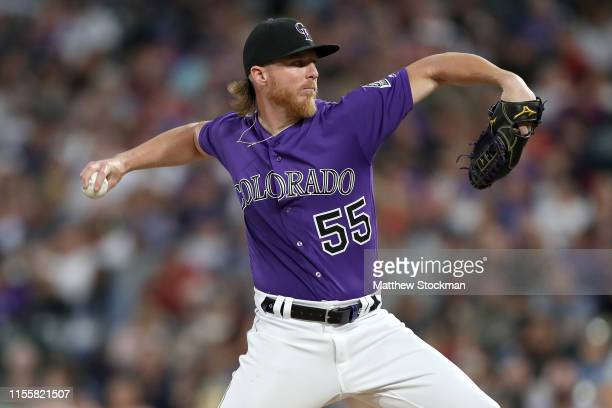 Starting pitcher Jon Gray of the Colorado Rockies throws in the fifth inning against the San Diego Padres at Coors Field on June 13, 2019 in Denver,...