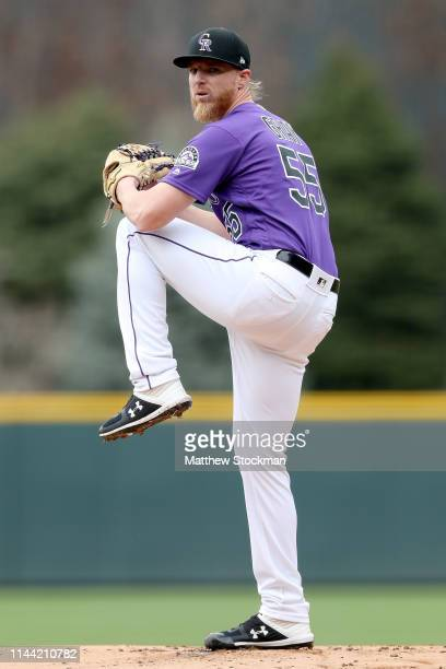 Starting pitcher Jon Gray of the Colorado Rockies throws in the first inning against the Philadelphia Phillies at Coors Field on April 21, 2019 in...
