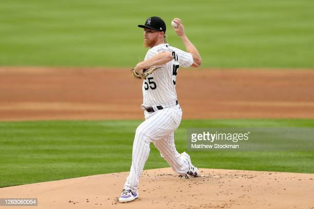 Starting pitcher Jon Gray of the Colorado Rockies throws in the first inning against the San Diego Padres at Coors Field on July 31, 2020 in Denver,...
