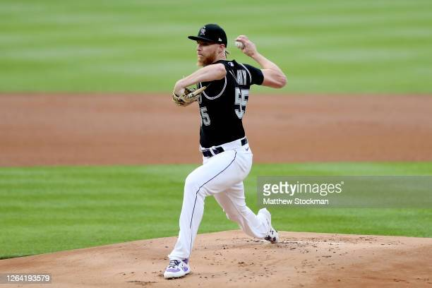 Starting pitcher Jon Gray of the Colorado Rockies throws in the first inning against the San Francisco Giants at Coors Field on August 05, 2020 in...