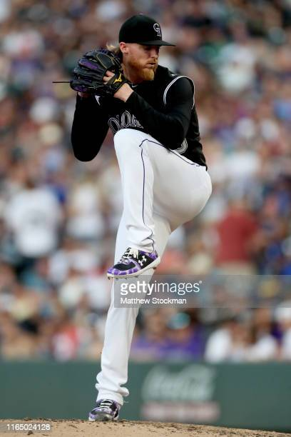 Starting pitcher Jon Gray of the Colorado Rockies throws in the fourth inning against the Los Angeles Dodgers at Coors Field on July 29, 2019 in...