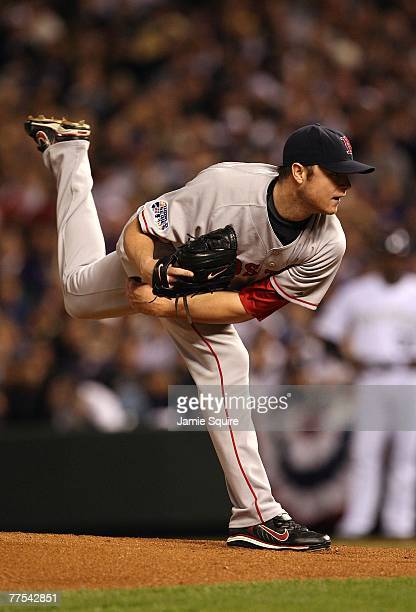 Starting pitcher Jon Lester of the Boston Red Sox deals during Game Four of the 2007 Major League Baseball World Series against the Colorado Rockies...