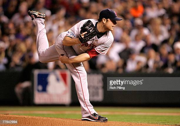Starting pitcher Jon Lester of the Boston Red Sox pitches against the Colorado Rockies during Game Four of the 2007 World Series at Coors Field on...