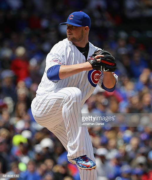 Starting pitcher Jon Lester of the Chicago Cubs delivers the ball against the Pittsburgh Pirates at Wrigley Field on May 15 2016 in Chicago Illinois