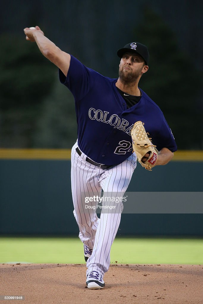Starting pitcher Jordan Lyles #24 of the Colorado Rockies delivers against the San Francisco Giants at Coors Field on April 13, 2016 in Denver, Colorado.