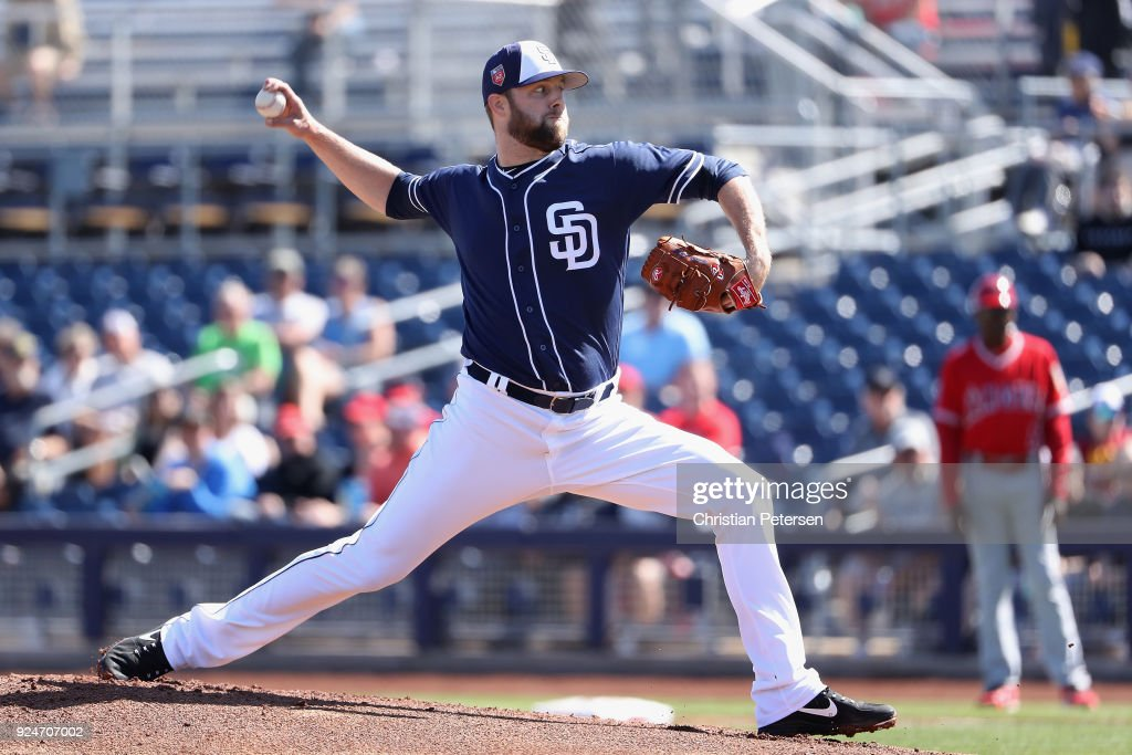 Starting pitcher Jordan Lyles #27 of the San Diego Padres pitches against the Los Angeles Angels during the first inning of the spring training game at Peoria Stadium on February 26, 2018 in Peoria, Arizona.