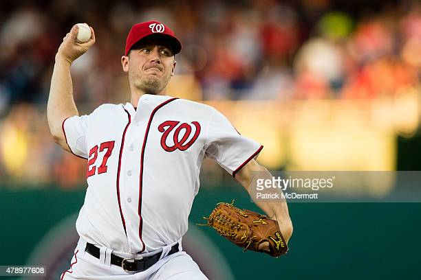 Starting pitcher Jordan Zimmermann of the Washington Nationals throws a pitch to a Atlanta Braves batter in the sixth inning of a baseball game at...