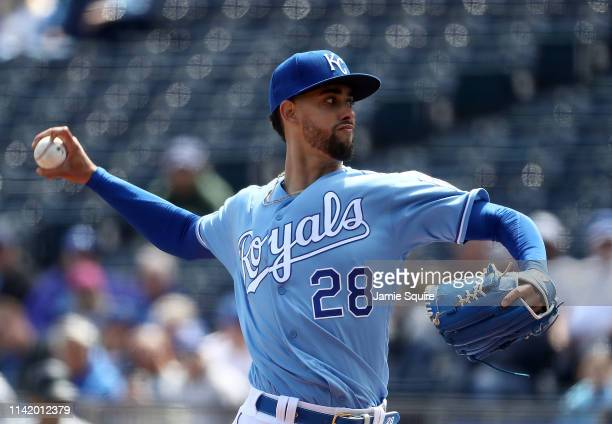 Starting pitcher Jorge Lopez of the Kansas City Royals pitches during the game against the Seattle Mariners at Kauffman Stadium on April 11 2019 in...