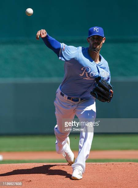 Starting pitcher Jorge Lopez of the Kansas City Royals throws a warmup pitcher before the game against the Chicago White Sox at Kauffman Stadium on...