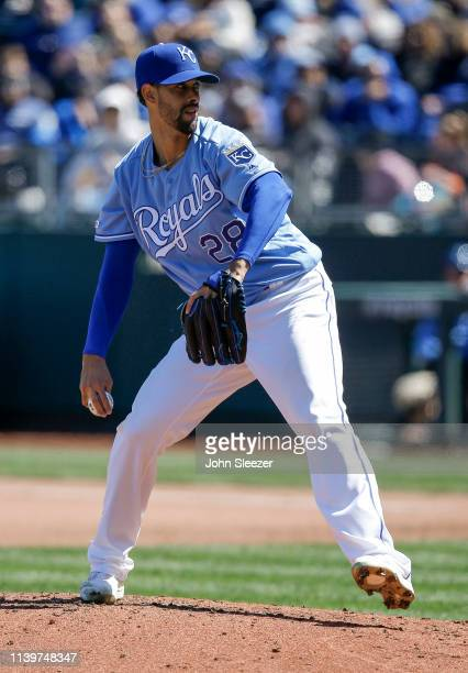 Starting pitcher Jorge Lopez of the Kansas City Royals throws in the fourth inning during the game against the Chicago White Sox at Kauffman Stadium...