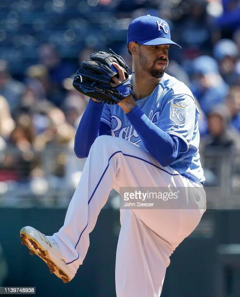 Starting pitcher Jorge Lopez of the Kansas City Royals throws in the first inning during the game against the Chicago White Sox at Kauffman Stadium...