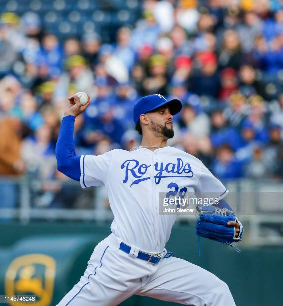 Starting pitcher Jorge Lopez of the Kansas City Royals throws in the first inning during the game against the Los Angeles Angels of Anaheim at...