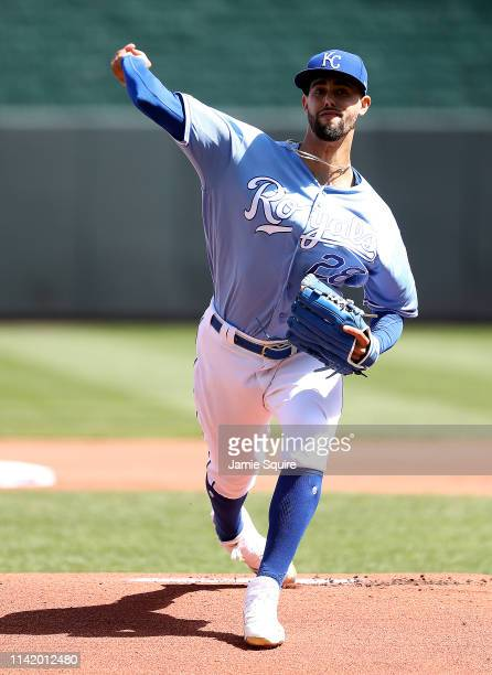 Starting pitcher Jorge Lopez of the Kansas City Royals warms up prior to the game against the Seattle Mariners at Kauffman Stadium on April 11 2019...