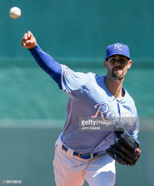Starting pitcher Jorge Lopez of the Kansas City Royals warms up before the game against the Chicago White Sox at Kauffman Stadium on March 31 2019 in...