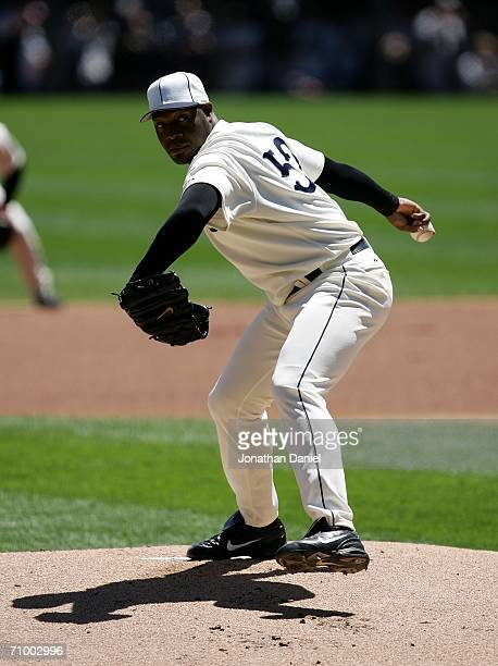 Starting pitcher Jose Contreras of the Chicago White Sox delivers the ball against the Chicago Cubs on May 21 2006 at US Cellular Field in Chicago...