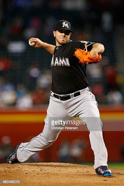 Starting pitcher Jose Fernandez of the Miami Marlins pitches against the Arizona Diamondbacks during the MLB game at Chase Field on July 22 2015 in...