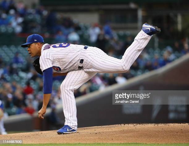 Starting pitcher Jose Quintana of the Chicago Cubs delivers the ball against the Los Angeles Dodgers at Wrigley Field on April 23 2019 in Chicago...